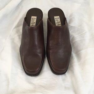 Vintage Leather Square Toe Block Heel Slides Mules